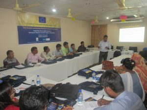 A seen of a training session for journalists on risk analysis and security planning in Rajshahi